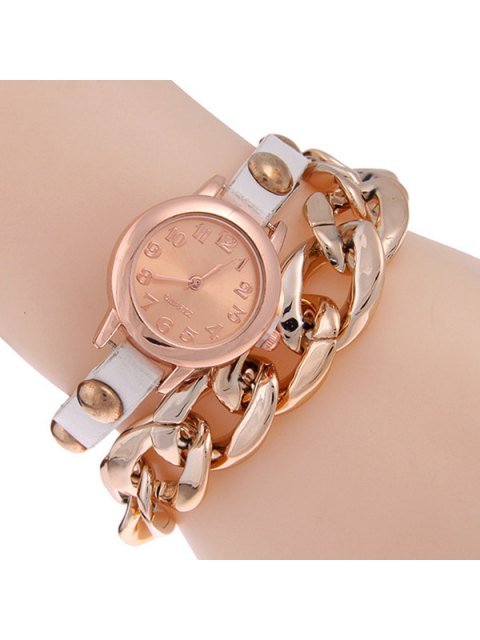 lady Faux Leather Alloy Chain Bracelet Watch - WHITE  Mobile