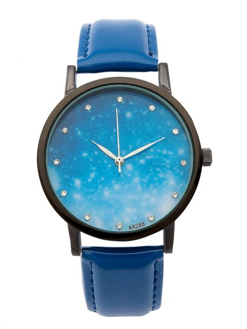 unique Rhinestone Faux Leather Starry Sky Watch - BLUE  Mobile