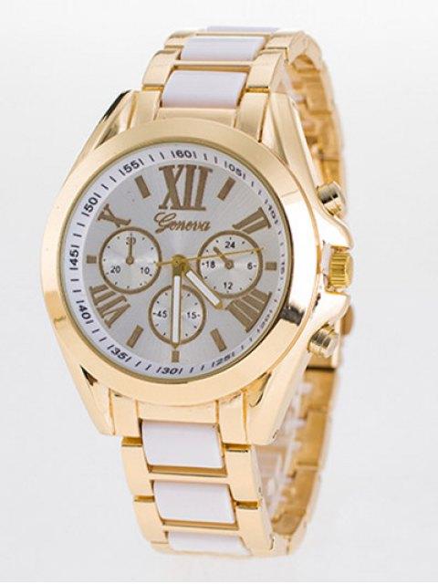 ladies Steel Band Quartz Roman Numerals Watch - WHITE  Mobile