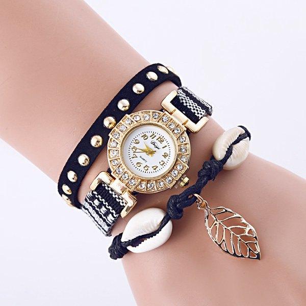 Rhinestone Leaf Conch Bracelet Quartz Watch
