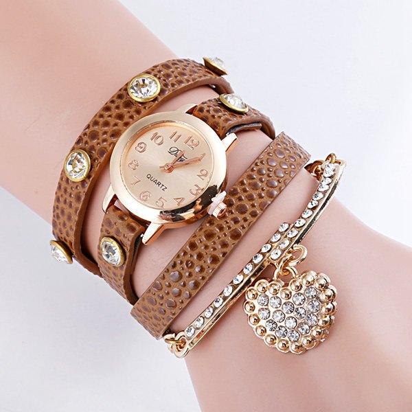 Rhinestone Heart Wrap Bracelet Quartz Watch