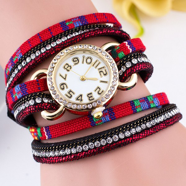 Ethnic Rhinestone Braid Wrap Bracelet Watch