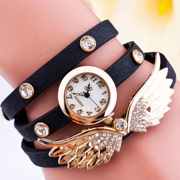 Rhinestone Angel Wings Wrap Bracelet Watch