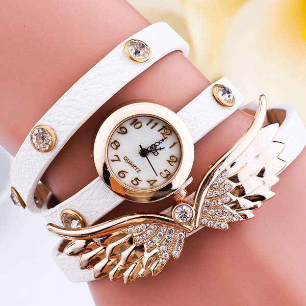 Rhinestone Angel Wings Wrap Bracelet Watch