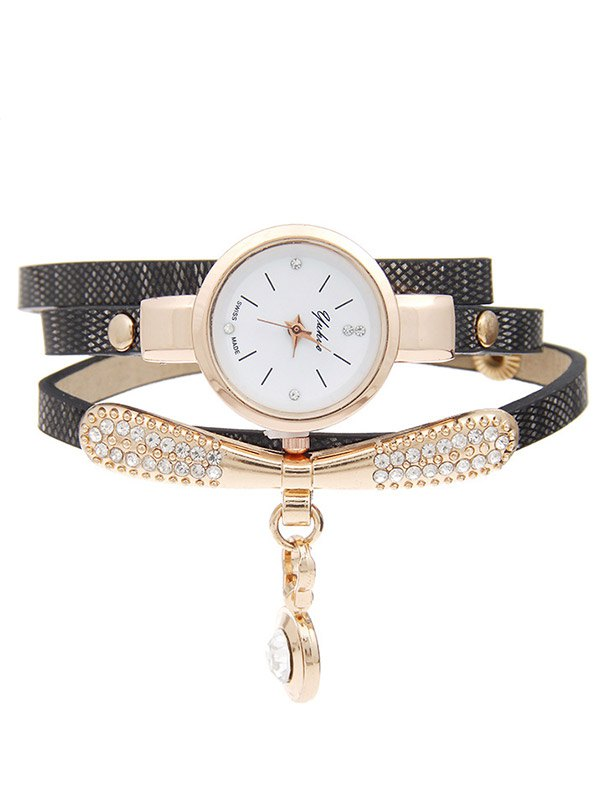 Rhinestone Artificial Leather Bracelet Watch