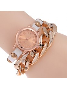 Faux Leather Alloy Chain Bracelet Watch