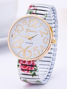 Alloy Flower Leaves Quartz Watch - White