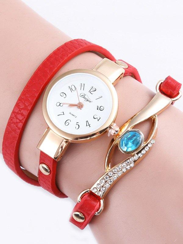 Layered Polished Faux Gem Eye Watch