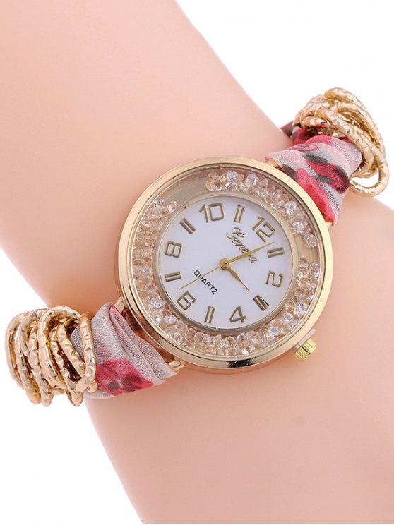 Gauze Braided Wrist Watch - LIGHT RED  Mobile