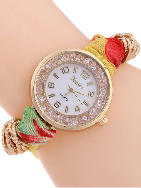 Gauze Braided Wrist Watch - YELLOW  Mobile