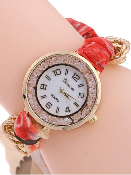 Gauze Braided Wrist Watch - VERMILION  Mobile