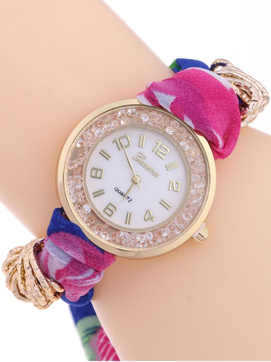 Gauze Braided Wrist Watch - ROSE MADDER  Mobile