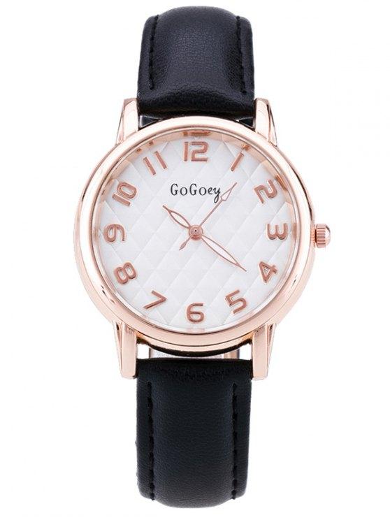 Faux Leather Number Quartz Watch - BLACK  Mobile
