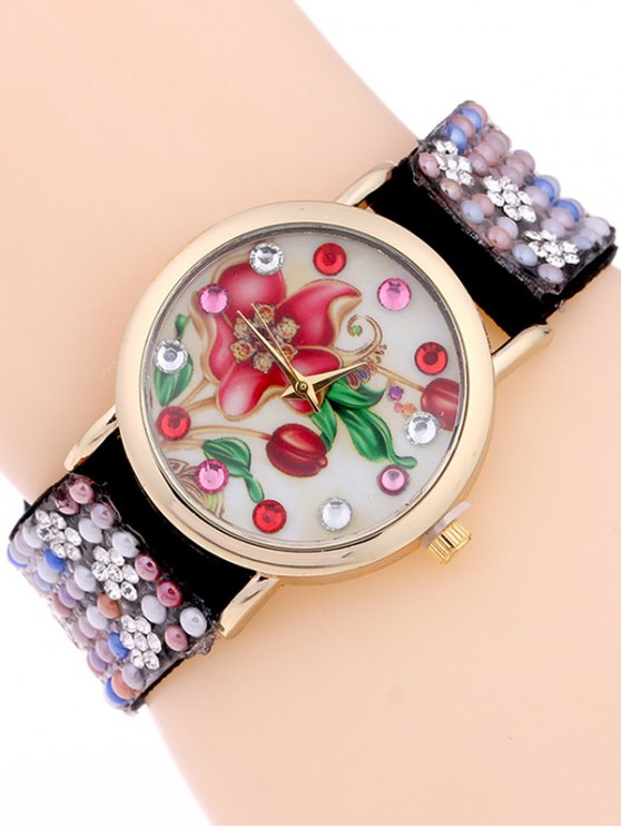 Studded Analog Bracelet Watch - BLACK  Mobile