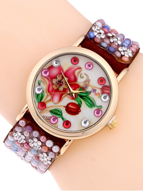Studded Analog Bracelet Watch - BROWN  Mobile
