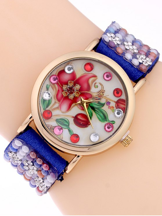 Studded Analog Bracelet Watch - SAPPHIRE BLUE  Mobile