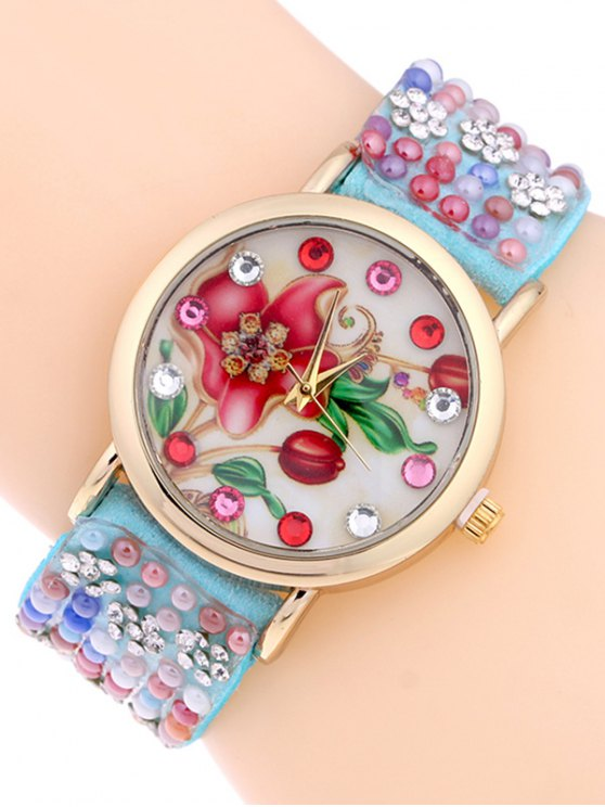 Studded Analog Bracelet Watch - AZURE  Mobile