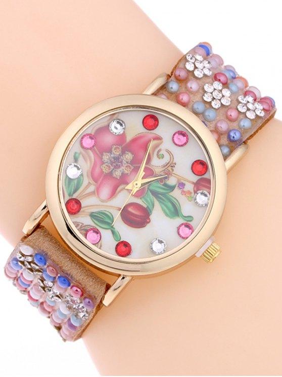 Studded Analog Bracelet Watch - CAMEL  Mobile