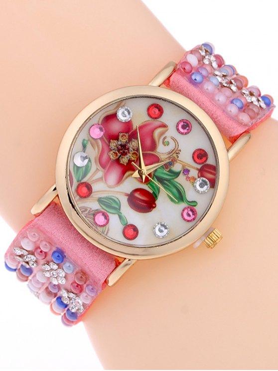 Studded Analog Bracelet Watch - PINK  Mobile