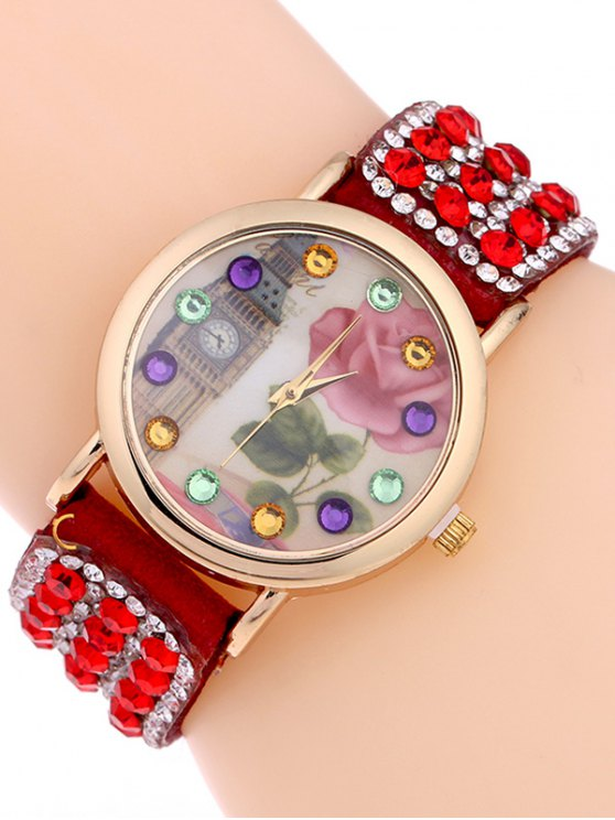 Rhinestone Studded Bracelet Watch - RED  Mobile