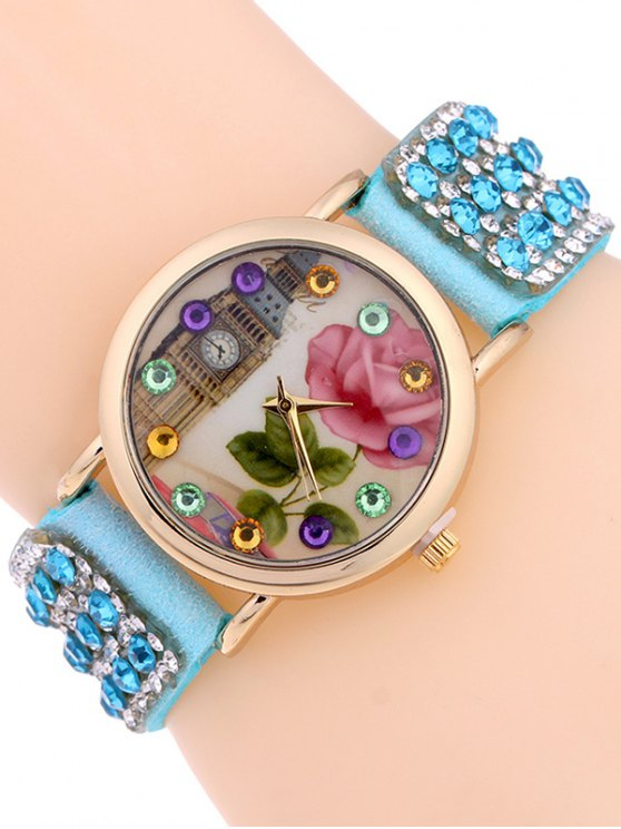 Rhinestone Studded Bracelet Watch - AZURE  Mobile