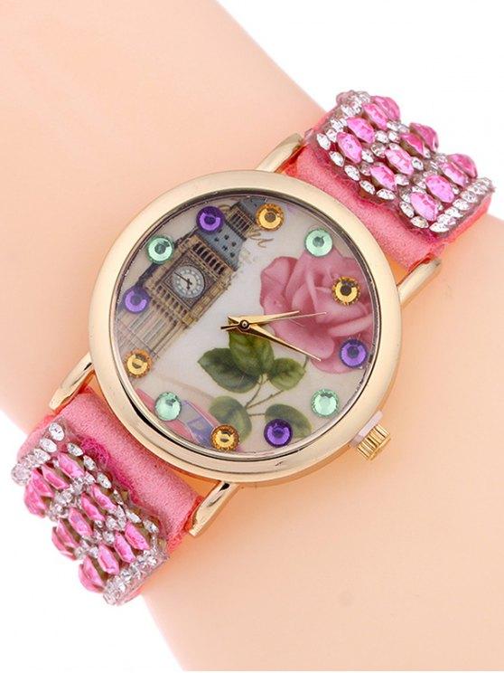 Rhinestone Studded Bracelet Watch - PINK  Mobile