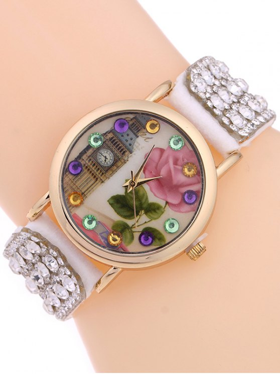 Rhinestone Studded Bracelet Watch - WHITE  Mobile
