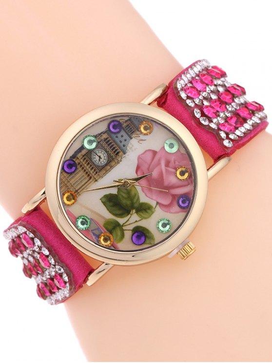 Rhinestone Studded Bracelet Watch - ROSE MADDER  Mobile
