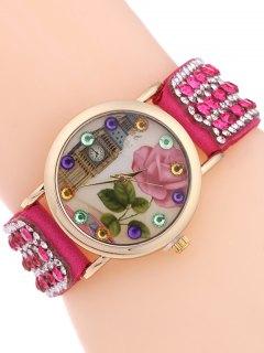 Décor Bracelet Montre De Strass - Rose Rouge