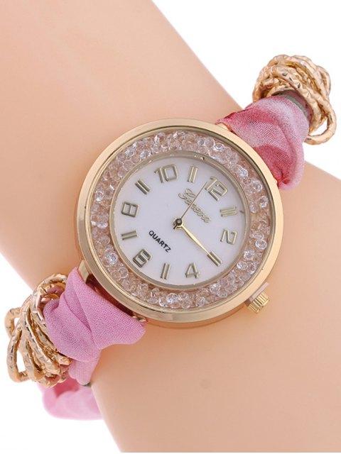 trendy Gauze Braided Wrist Watch - PINK  Mobile
