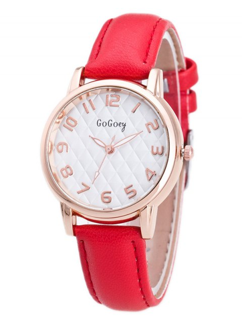 chic Faux Leather Number Quartz Watch - RED  Mobile