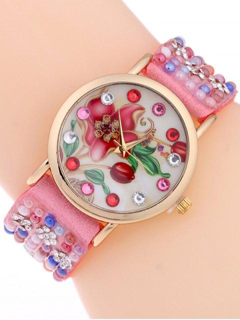 women's Studded Analog Bracelet Watch - PINK  Mobile