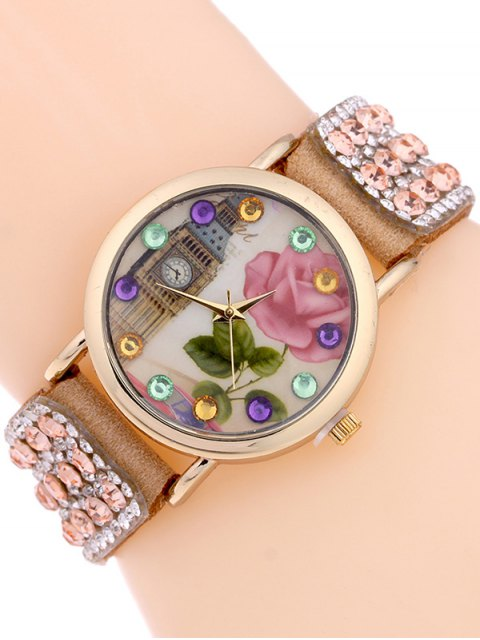 hot Rhinestone Studded Bracelet Watch -   Mobile