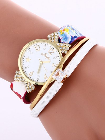 Faux Leather Wrist Watch - WHITE  Mobile