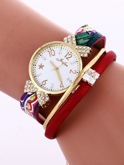 Faux Leather Wrist Watch - RED  Mobile