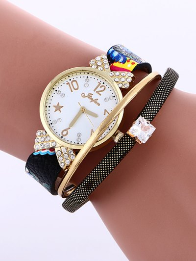 Faux Leather Wrist Watch - BLACK  Mobile