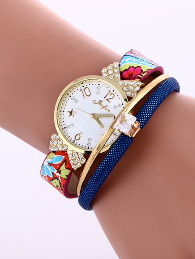 Faux Leather Wrist Watch - SAPPHIRE BLUE  Mobile