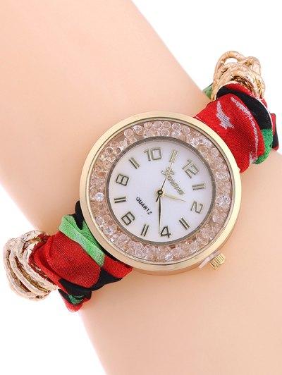 Gauze Braided Wrist Watch - RED  Mobile