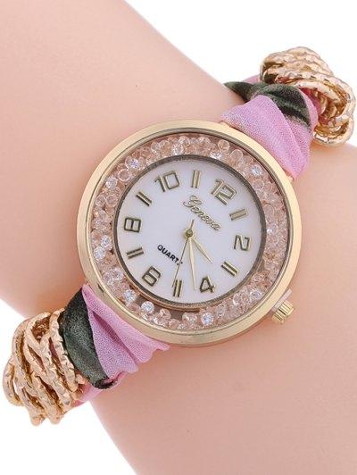 Gauze Braided Wrist Watch - LIGHT PINK  Mobile