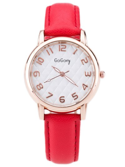 Faux Leather Number Quartz Watch - RED  Mobile