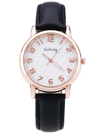 Faux Leather Number Quartz Watch - BLACK  Mobile