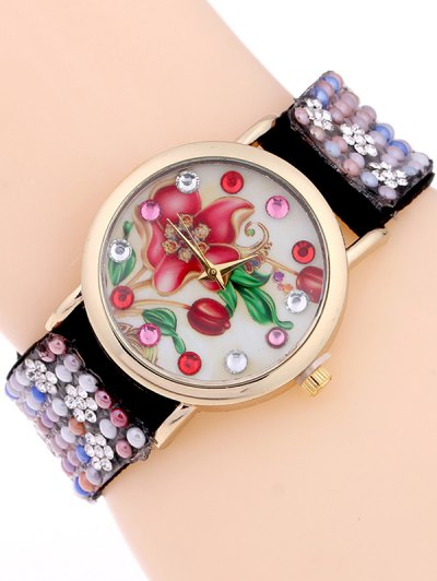 Studded Analog Bracelet Watch - BLACK  Mobile