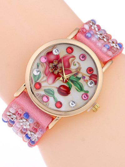 Studded Analog Bracelet Watch - PINK  Mobile