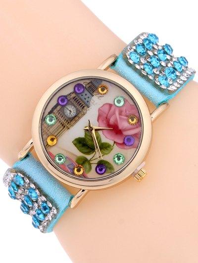 Rhinestone Studded Bracelet Watch - AZURE  Mobile