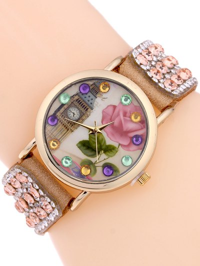 Rhinestone Studded Bracelet Watch - CAMEL  Mobile