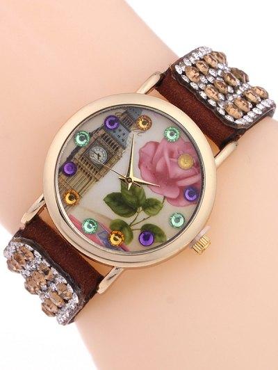 Rhinestone Studded Bracelet Watch - BROWN  Mobile