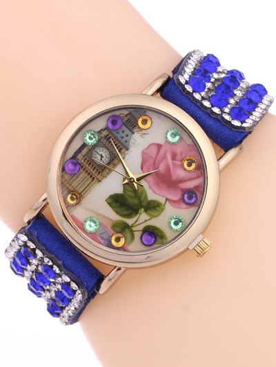 Rhinestone Studded Bracelet Watch - SAPPHIRE BLUE  Mobile