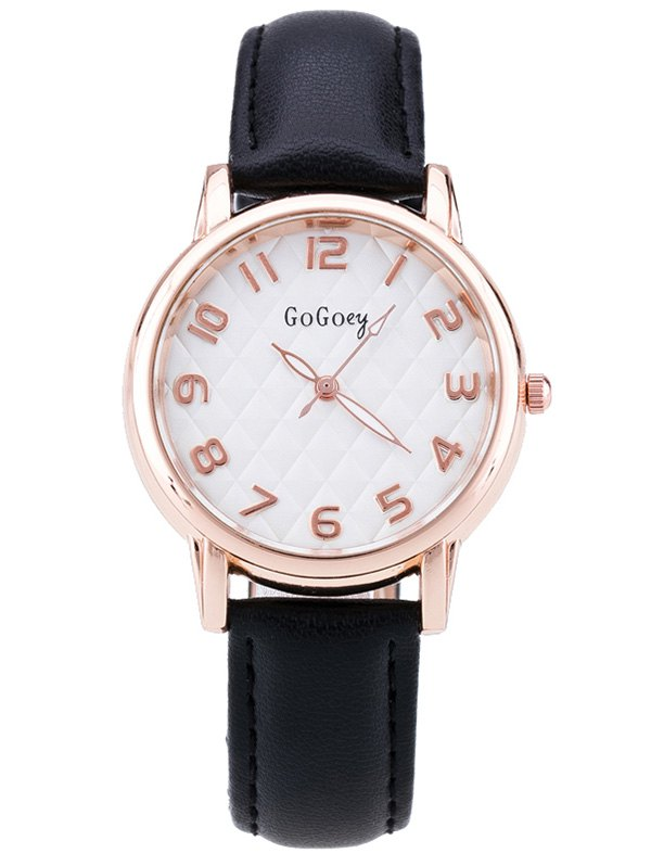 Faux Leather Number Quartz Wrist Watch