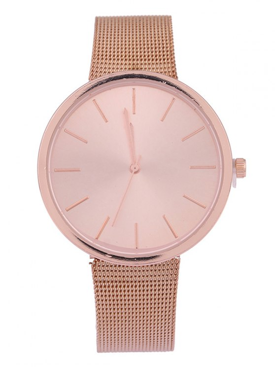 shops Simple Steel Mesh Band Quartz Watch - ROSE GOLD