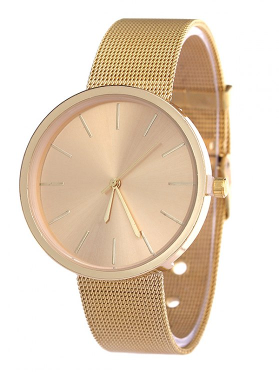 Simple Steel Mesh Band Quartz Watch - GOLDEN  Mobile
